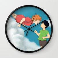 ponyo Wall Clocks featuring Hinata - Ponyo by betanoiz