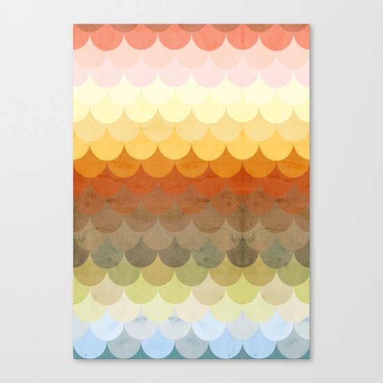 Half Circles Waves Color Canvas Print