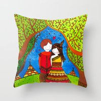 pocahontas Throw Pillows featuring Pocahontas by Sandra Nascimento