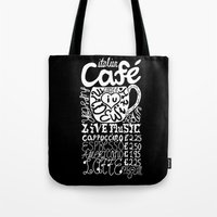 italian Tote Bags featuring Italian Cafe by Geryes