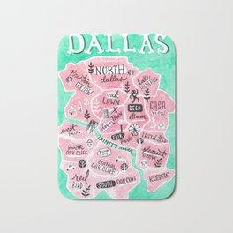 Dallas City Map Bath Mat