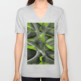 Eighties Styled Grey and Lemon Curve Pattern Unisex V-Neck
