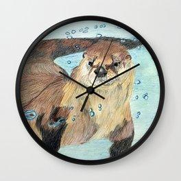Otter swimming Wall Clock