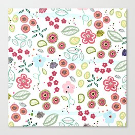 Abstract Summer Flowers Illustration Textile Pattern Canvas Print