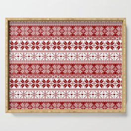 Red Winter Fair Isle Pattern Serving Tray