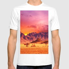 Desert & brown Mountains White Mens Fitted Tee MEDIUM