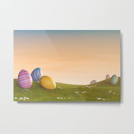 I - Decorated Easter eggs in a grassy hilly landscape at sunset Metal Print