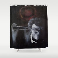 kurt rahn Shower Curtains featuring Kurt Vonnegut by MucklowArt