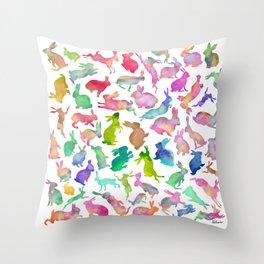 Watercolour Bunnies Throw Pillow