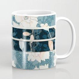 "Blue Peony Floral Print with ""Obi"" Trim Coffee Mug"