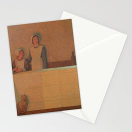 Frederick Cayley Robinson - 3 Orphans (2 girls and a cat) 1915 Stationery Cards
