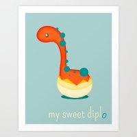 dinosaur Art Prints featuring Dinosaur by Jane Mathieu