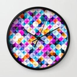 Interlacing circles parts artistic illustration pattern. Guatrefoil flower colorful diamond lattice endless ornament. Circle elements repeating fabric print. Geometric tile motifs. Wall Clock