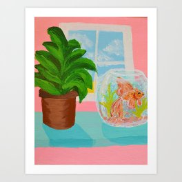 Fishbowl and Plant  Art Print