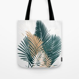 Gold and Green Palm Leaves Tote Bag