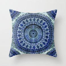 Vintage Blue Wash Mandala Throw Pillow