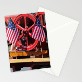 Flags on a Fire Truck Stationery Cards