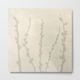 Cream and Taupe Pussy Willow Graphic Light Neutral Metal Print