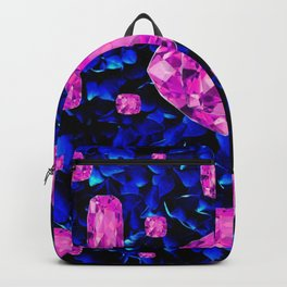 PINK SAPPHIRE GEM SPRINKLES ON BLUE  BIRTHSTONE ART Backpack