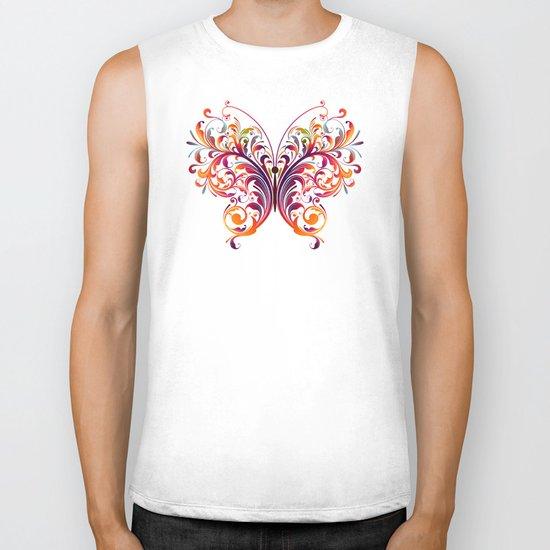 Multicolor Butterfly Biker Tank