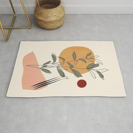 Minimal Line Young Leaves Rug