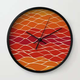 Orange and Red Waves Wall Clock