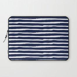 Navy Blue Stripes on White II Laptop Sleeve