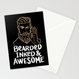 Bearded Inked & Awesome | Beard Tattoo Stationery Cards