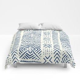 Line Mud Cloth // Ivory & Navy Comforters