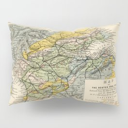 Scotch Coal Fields Vintage Map Pillow Sham