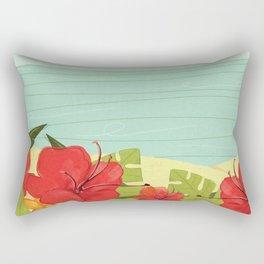 Hibiscus Beach - Red Tropical Flowers  Rectangular Pillow