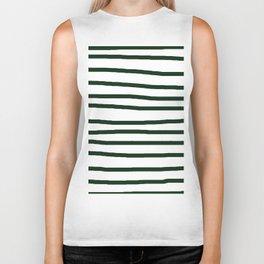 Simply Drawn Stripes in Pine Green Biker Tank
