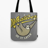 whatever Tote Bags featuring Whatever by Mathiole