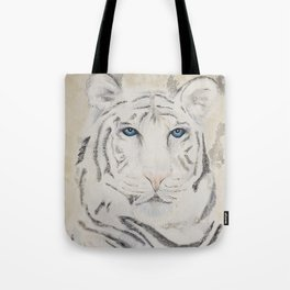Original Art - White Tiger Original Painting (highly textured)  #white Tote Bag