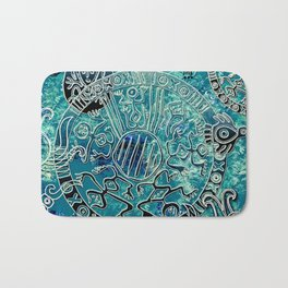 Aztec blues2 Bath Mat