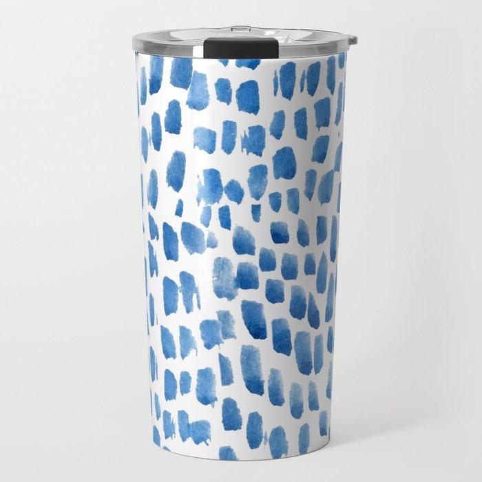 Indigo Droplets Pattern Travel Mug