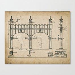 Pittsburgh Bridge Wall Art, 1914 Blueprint, Pittsburgh History & Architecture Canvas Print