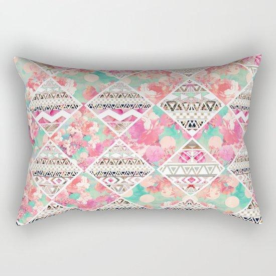 Aztec Floral  Diamond Rectangular Pillow