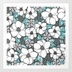 Midnight Magnolias Art Print