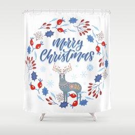 Merry Christmas Scandinavian Deer and Floral Wreath Shower Curtain
