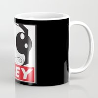 invader zim Mugs featuring Obey Zim by Omitted