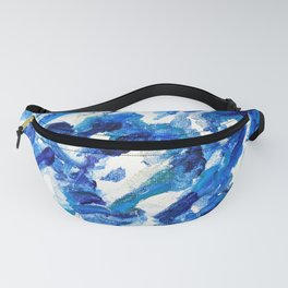 Turbulent Waves Original Abstract Oil Painting on Canvas, Blue, Silver 8x10in Fanny Pack