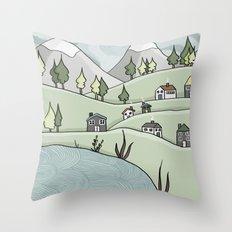 Lakeside Village Throw Pillow