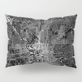 Indianapolis Black Map Pillow Sham