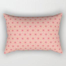 Red Japanese Hemp Kimono Pattern Rectangular Pillow