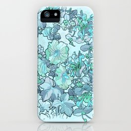 """Alphonse Mucha """"Printed textile design with hollyhocks in foreground"""" (edited blue) iPhone Case"""