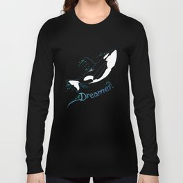Dreamer Orca (Amber Marine, Indie Wildlife Artist Official Logo, Copyright 2015) Killer Whale Art Long Sleeve T-shirt