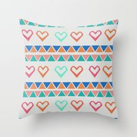 knit Throw Pillows featuring Heart Knit  by minniemorrisart