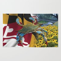 maryland Area & Throw Rugs featuring Maryland Blue by O'Postrophy