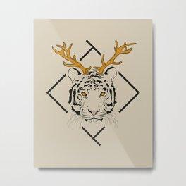 Tiger and deer Metal Print